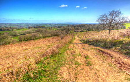 hdri: View from Black Down Mendip Hills Somerset England UK towards Blagdon lake and Chew Valley
