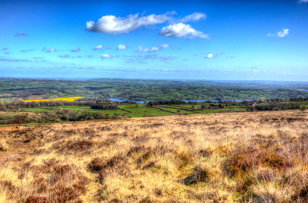 english west country: Countyryside view from Black Down Mendip Hills Somerset England UK towards Blagdon lake and Chew Valley Stock Photo