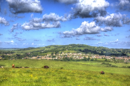 Brading Isle of Wight home to the Roman Villa tourist attraction near Sandown and Shanklin like painting in HDR Stock Photo