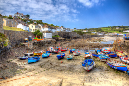 cornish: Quaint pretty harbour in England at Coverack The Lizard peninsula Cornwall UK in summer with blue sky and boats Editorial