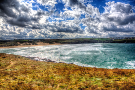 iow: Crantock Bay near New Cornwall in vivid colourful HDR Stock Photo