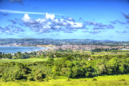 Isle of Wight coast view towards Shanklin and Sandown from Culver Down in HDR