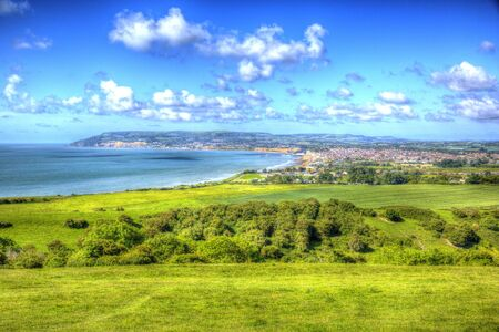 Isle of Wight coast view towards Shanklin and Sandown from Culver Down HDR Stock Photo
