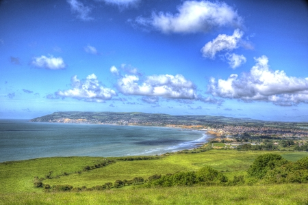 Isle of Wight coast view towards Shanklin and Sandown from Culver Down Stock Photo