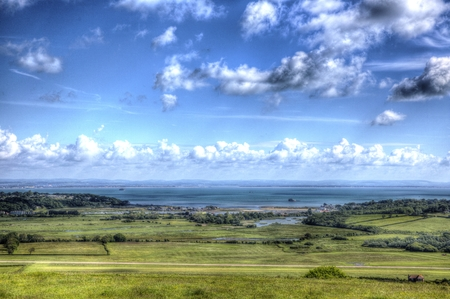 Isle of Wight view to Bembridge and Whitecliff Bay east of the island