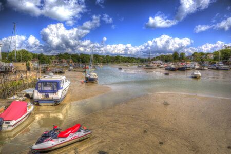 wight: Boats in Wootton Bridge Isle of Wight between Ryde and Newport