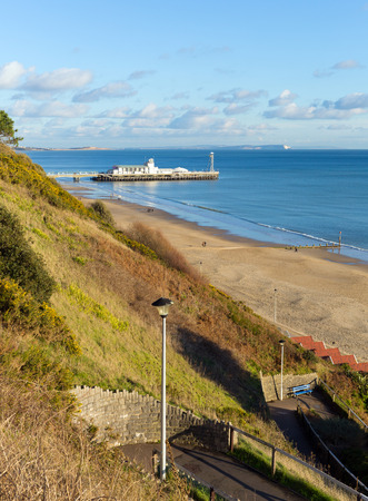 bournemouth: View of Bournemouth coast beach and pier Dorset England UK near to Poole known for beautiful sandy beaches Stock Photo