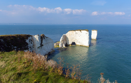 jurassic coast: Chalk stack rock formations Old Harry Rocks Isle of Purbeck in Dorset south England UK the most easterly point of the Jurassic Coast like the Needles Stock Photo