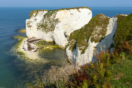 jurassic coast: Old Harry Rocks chalk formations including a stack and a stump at Handfast Point Isle of Purbeck in Dorset southern England UK the most easterly point of the Jurassic Coast