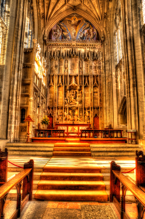 Church interior with steps leading up to the altar in colourful HDR