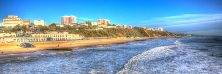 bournemouth: Bournemouth beach and coast Dorset England UK like a painting in vivid bright colour HDR panorama Stock Photo