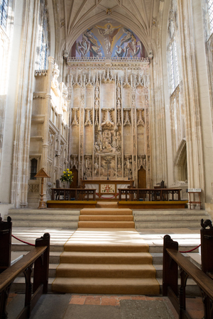 Church interior with steps leading up to the altar