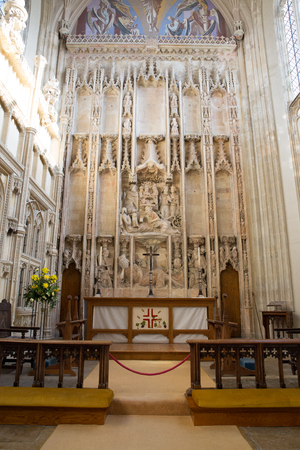 Church interior with altar and impressive stonework and decoration