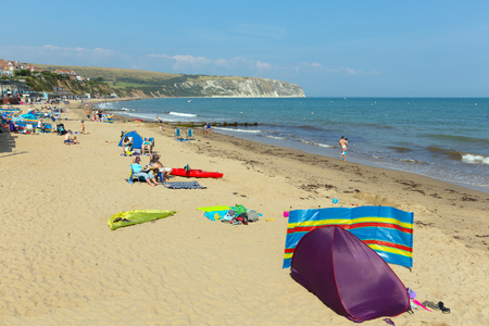 tourist destination: Swanage beach Dorset England UK near Poole and Bournemouth at the eastern end of the Jurassic Coast a World Heritage Site popular south coast tourist destination