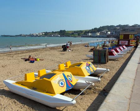 dorset: Pedalos Swanage beach Dorset England UK Editorial