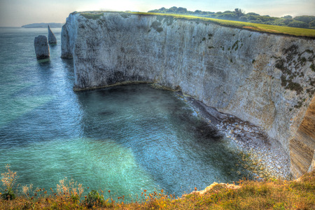 jurassic coast: Chalk stack rock formations Old Harry Rocks Isle of Purbeck in Dorset south England UK the most easterly point of the Jurassic Coast like the Needles in colouful HDR