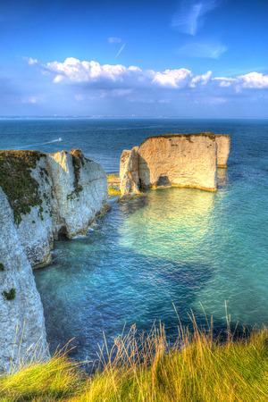 jurassic coast: Old Harry Rocks chalk formations including a stack and a stump at Handfast Point Isle of Purbeck in Dorset southern England UK the most easterly point of the Jurassic Coast in colourful HDR Stock Photo