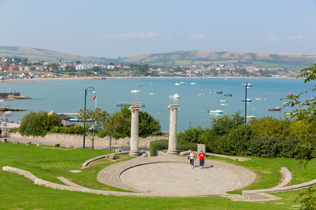 dorset: Swanage Dorset England UK Prince Albert Gardens with amphitheatre and park and a view over this popular south coast seaside town Stock Photo