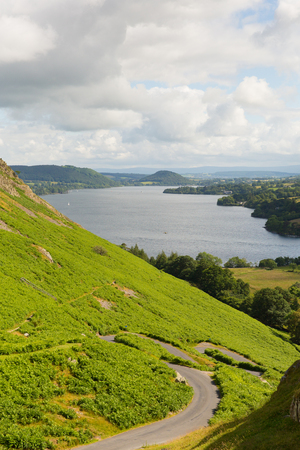 fell: Elevated view of Ullswater Lake District Cumbria England UK from Hallin Fell in summer