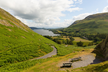 cumbria: Elevated view of Ullswater Lake District Cumbria England UK from Hallin Fell in summer