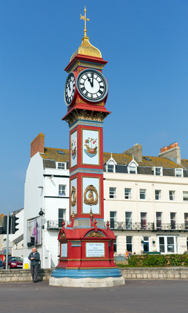 south coast: Clock tower Weymouth seafront Dorset UK in summer popular tourist destination on the south coast Editorial
