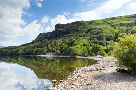 borrowdale: Barrow Bay Derwent Water on calm still summer morning in the English lake District Stock Photo