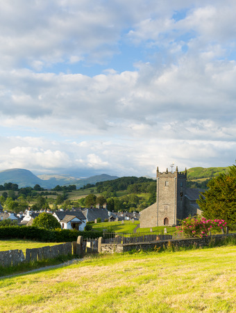 beatrix: Hawkshead Lake District National Park England uk on a beautiful sunny summer day popular tourist village known for William Wordsworth and Beatrix Potter