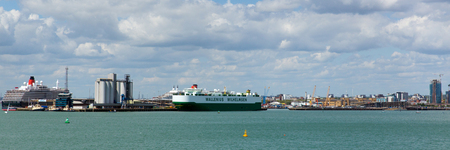 Panorama of Southampton docks with cruise ship and container vessel