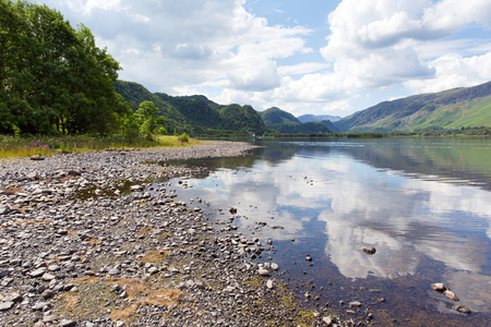 British Lake District in Cumbria UK at Derwent Water in summer on a calm day with blue sky and white clouds