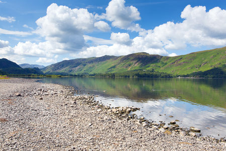borrowdale: Peaceful calm relaxed summer morning in the English lake District at Derwent Water with view to Catbells Stock Photo
