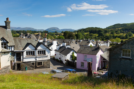 lake district england: Hawkshead village Lake District England uk on a beautiful sunny summer day popular tourist village