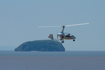 brean down: Autogyro and Brean Down island Weston-super-mare air festival Somerset UK