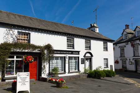 lake district england: Gallery in Hawkshead Lake District England uk on a beautiful sunny summer day popular tourist village