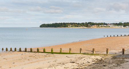 View from Nodes Point St Helens Isle of Wight to Bembridge harbour Stock Photo