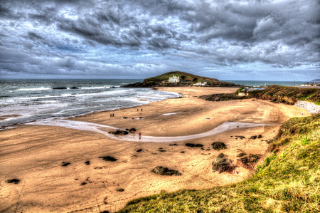 burgh: Burgh Island beach South Devon England uk near Bigbury-on-sea on the south west coast path in bright vivid colourful HDR like painting