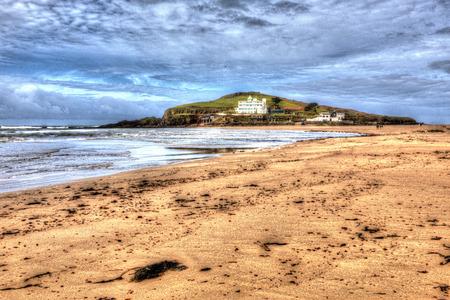 burgh: Beach and Burgh Island South Devon England uk near Bigbury-on-sea on the south west coast path in bright vivid colourful HDR like painting