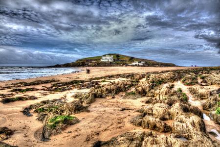 burgh: Rocks and seaweed Burgh Island South Devon England uk near Bigbury-on-sea on the south west coast path in bright vivid colourful HDR like painting