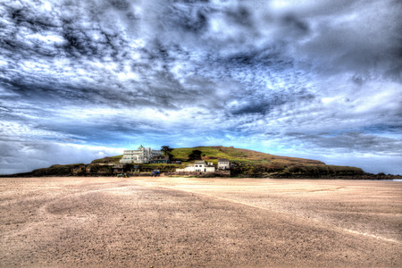 south west coast path: Burgh Island South Devon England uk near Bigbury-on-sea on the south west coast path in bright vivid colourful HDR like painting Stock Photo