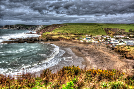 burgh: Devon coast Challaborough England uk popular surfing beach near Burgh Island and Bigbury-on-sea on the south west coast path in bright vivid colourful HDR