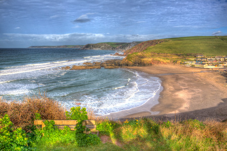 burgh: Challaborough coast South Devon England uk popular surfing beach near Burgh Island and Bigbury-on-sea on the south west coast path in bright vivid colourful HDR