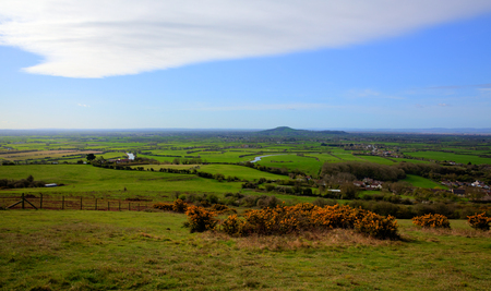 english west country: Somerset countryside view from Bleadon Weston-super-Mare England UK towards Brent Knoll
