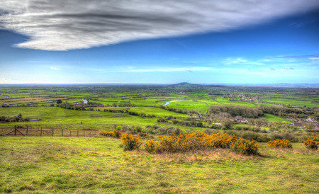 knoll: Somerset countryside view from Bleadon Weston-super-Mare England UK towards Brent Knoll in vivid colourful HDR like painting