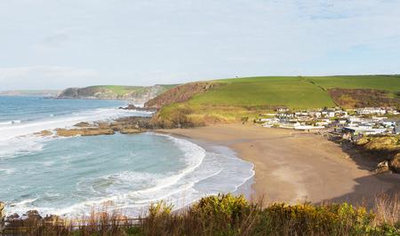burgh: Challaborough coast beach and bay South Devon England uk popular surfing destination near Burgh Island and Bigbury-on-sea on the south west coast path