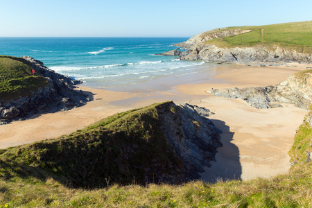 polly: Polly Joke beach next to Crantock bay Cornwall England UK near Newquay and on South West Coast Path some know as Porth Joke in spring with blue sea and sky
