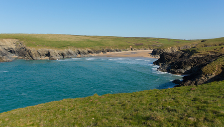 polly: Porth Joke beach by Crantock bay Cornwall England UK near Newquay in spring with blue sea and sky