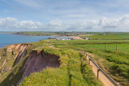 south west coast path: South west coast path towards Thurlestone South Devon England UK from the direction of Hope Cove Stock Photo