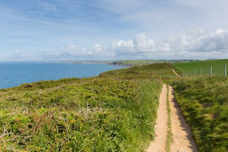 south west england: South west coast path towards Thurlestone South Devon England UK from the direction of Hope Cove Stock Photo