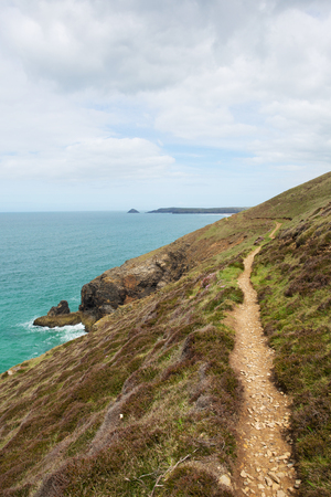 south west coast path: South West Coast Path towards Perranporth North Cornwall England UK