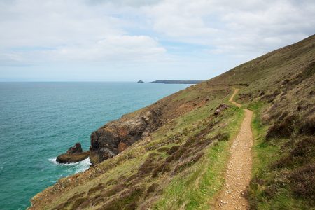 towards: South West Coast Path towards Perranporth North Cornwall England UK
