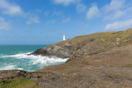 south west coast path: UK lighthouse at Trevose Head North Cornwall coastline between Newquay and Padstow on south west coast path Stock Photo